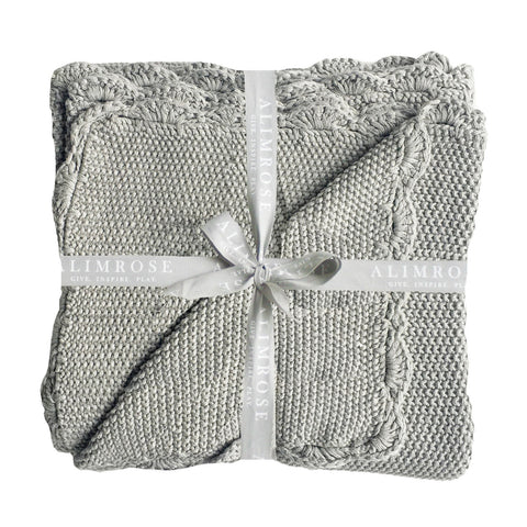 Baby Blanket Scallop Edge Grey