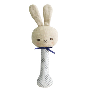 Alimrose Baby Bunny Stick Rattle Navy Spot, Sticky Fingers Children's Boutique Niddrie, Shop local