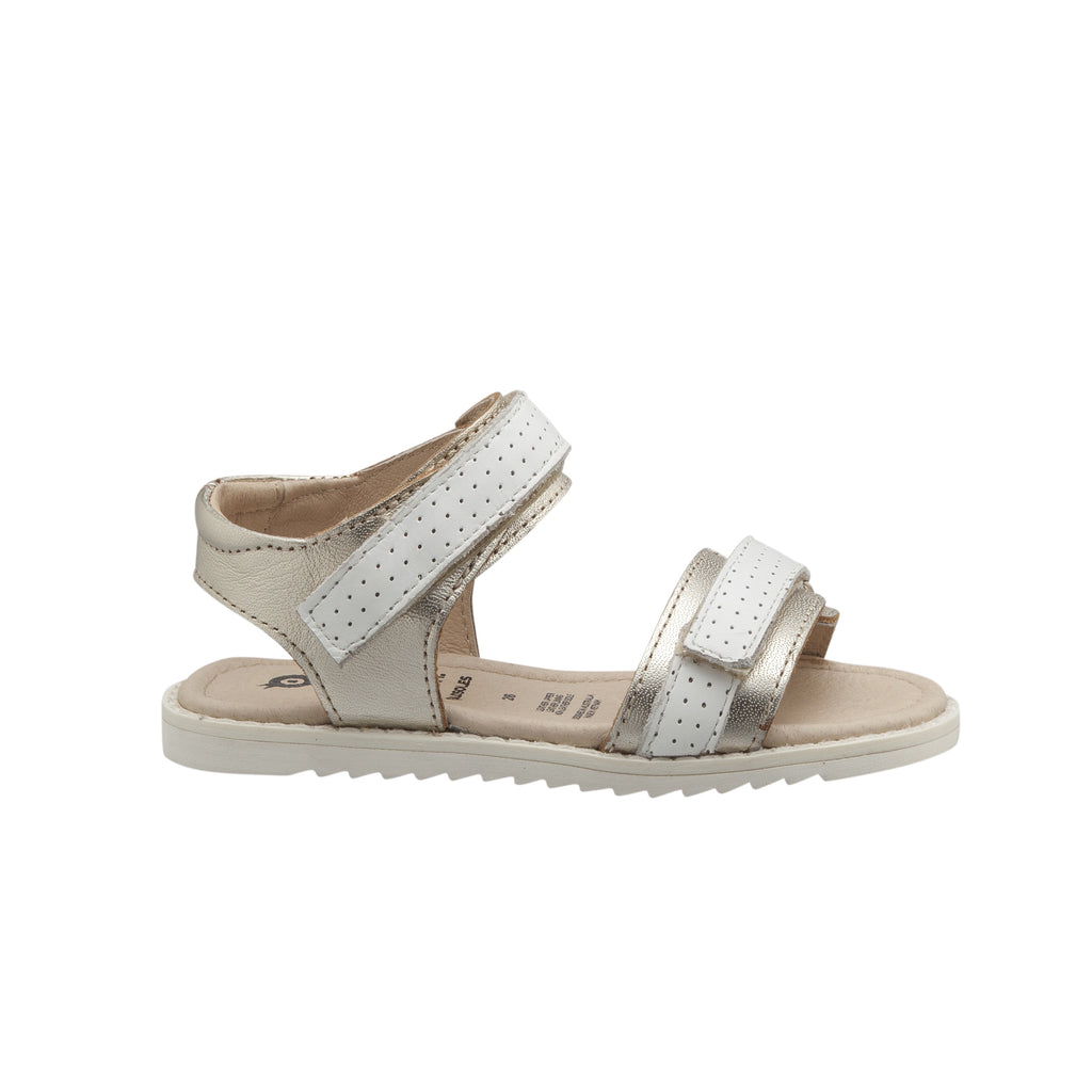 Strapping Gold and snow sandal for girls. Old soles summer collection 2020. leather sandals for girls. Shop online or in store at Sticky Fingers Children's Boutique, Niddrie, Melbourne.