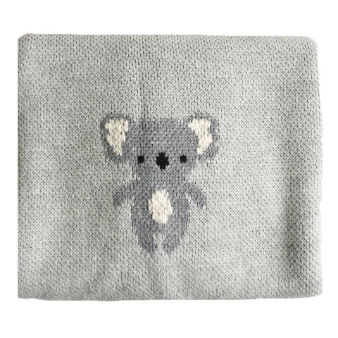 Baby Blanket Cotton Knit Koala Grey