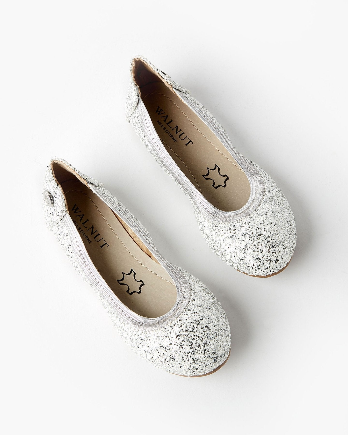 Walnut Ballet Shoes. Silver Sparkle Ballet. Shop online or in store at Sticky Fingers Childrens Boutique in Niddrie, Melbourne.