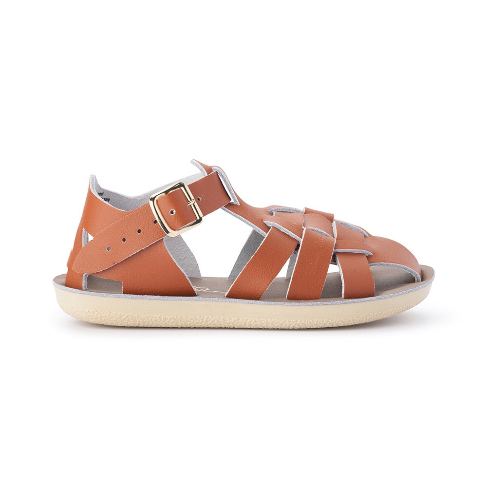 Saltwater Sandals Shark in Tan at Sticky Fingers Children's Boutique