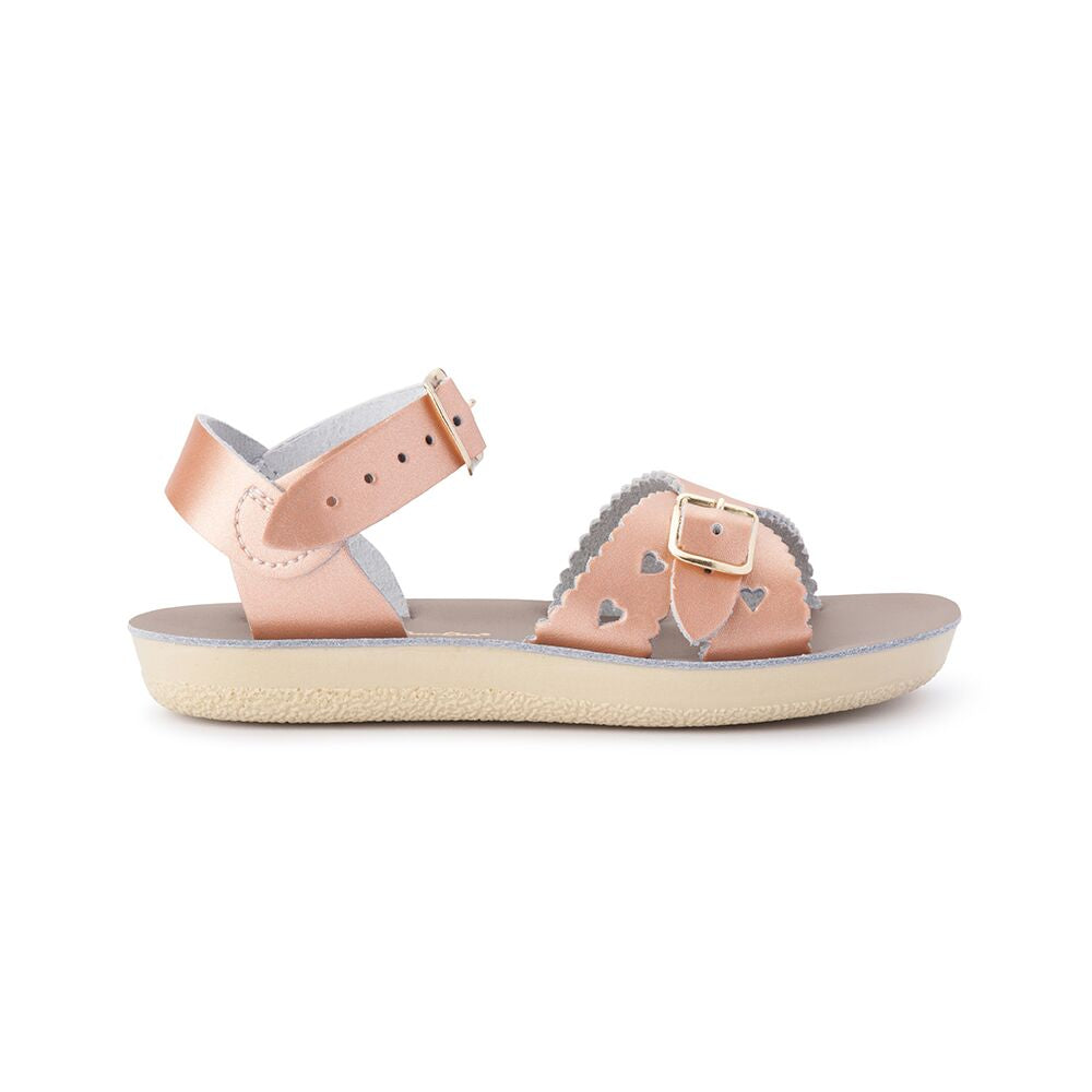 Saltwater Sandals Sweetheart in Rose Gold at Sticky Fingers Children's Boutique