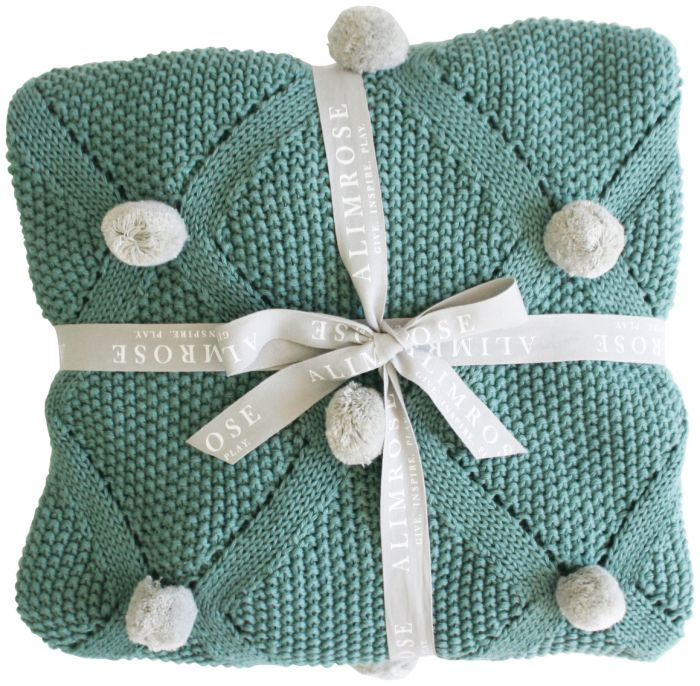 Unisex baby blanket. Pom pom knit sage from Alimrose. Shop online or in store at Sticky Fingers Children's Boutique, niddrie.