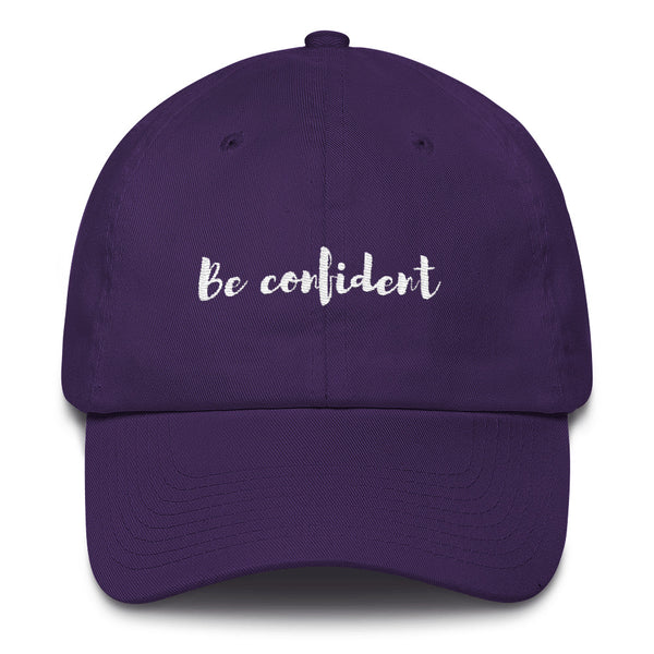 "A rich purple ""Be confident"" baseball cap with hats inspirational quotes"