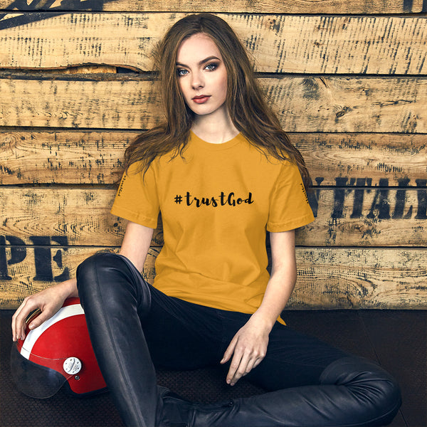 A mustard short Bible quotes t-shirt that says #trustgod