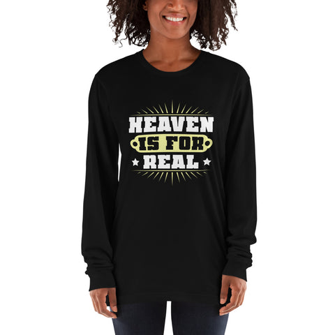 A black long sleeve shirt from a christian based clothing store that claims heaven is for real