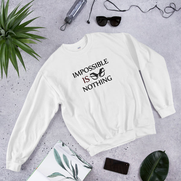 "A white motivational quotes clothing sweatshirt that says, ""Impossible Is Nothing"""