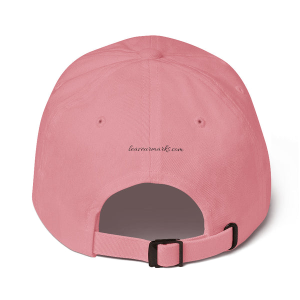 The back of a pink #neverquit! hat from the Christian clothing market