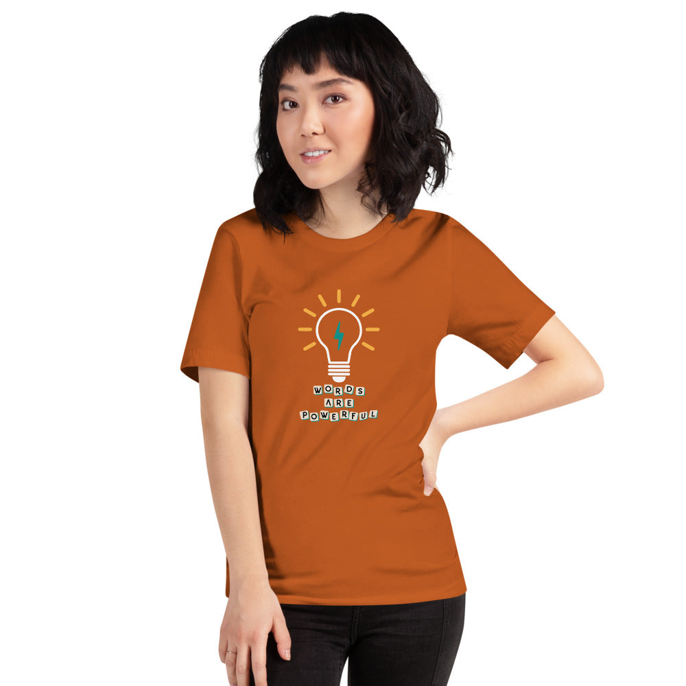 "An autumn motivational quotes clothing t-shirt that says ""Words are powerful"""