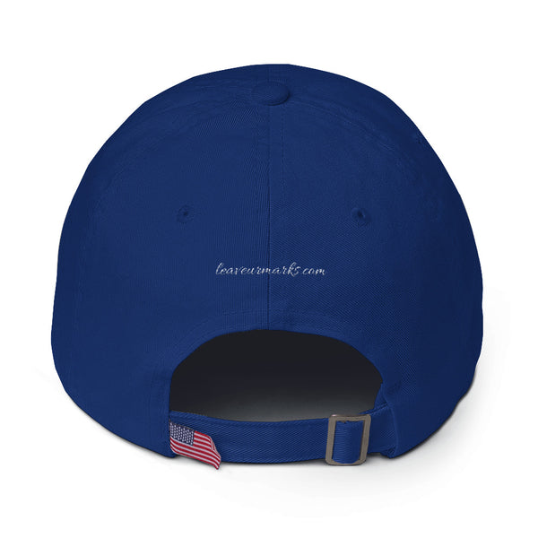 "The back of a royal blue ""Be confident"" baseball cap with hats inspirational quotes and the Leave Ur Marks URL"