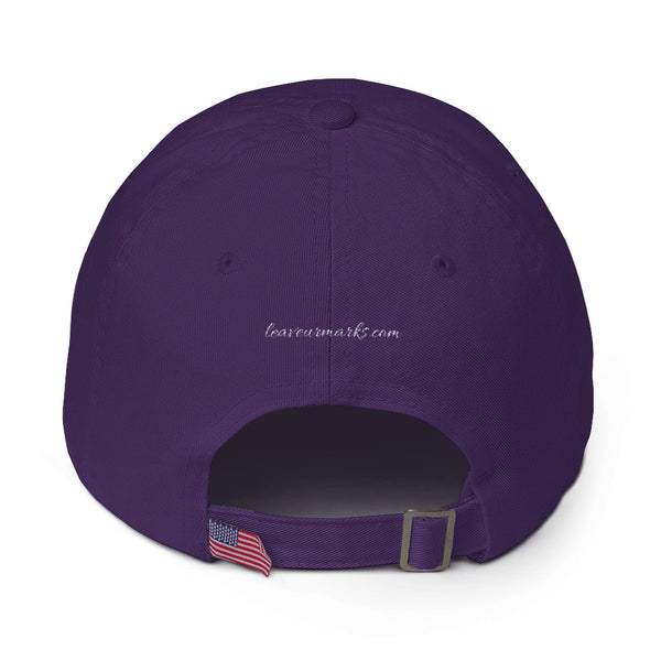 "The back of a rich purple ""Be confident"" baseball cap with hats inspirational quotes and the Leave Ur Marks URL"