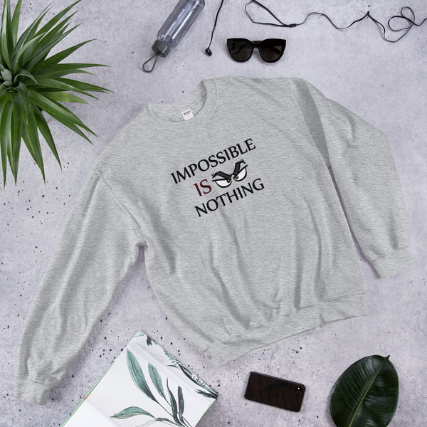 "A sport grey motivational quotes clothing sweatshirt that says, ""Impossible Is Nothing"""