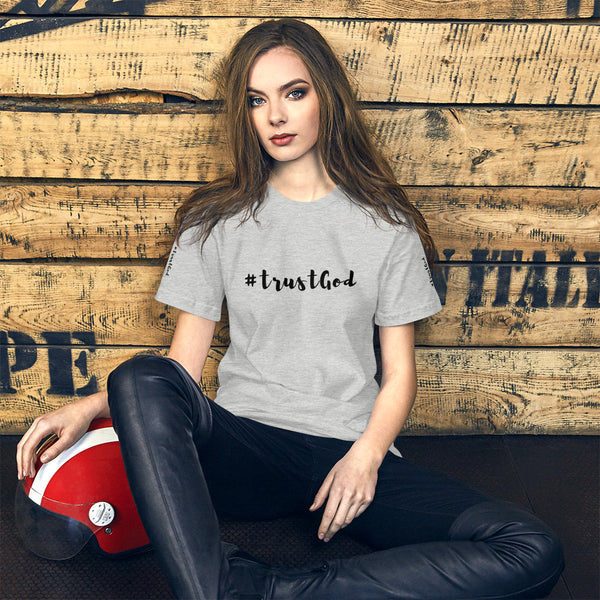 A grey short Bible quotes t-shirt that says #trustgod