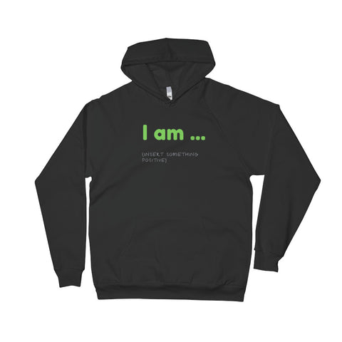 "A black Christian inspirational clothing hoodie that says ""I am"""