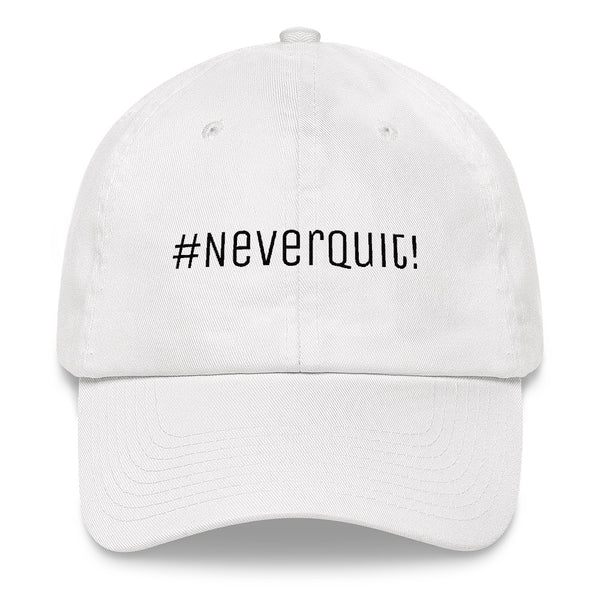 A white #neverquit! hat from the Christian clothing market