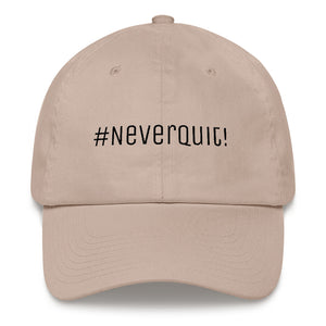 A stone #neverquit! hat from the Christian clothing market