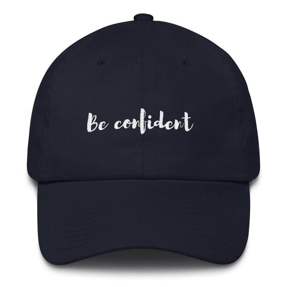 "A black ""Be confident"" baseball cap with hats inspirational quotes"