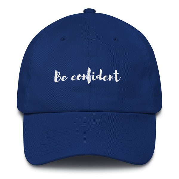 "A royal blue ""Be confident"" baseball cap with hats inspirational quotes"