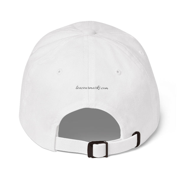 The back of a white #neverquit! hat from the Christian clothing market