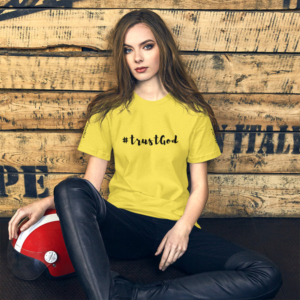 A yellow short Bible quotes t-shirt that says #trustgod