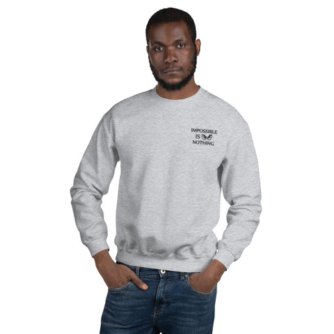 "A sport grey embroidered motivational quotes clothing sweatshirt that says, ""Impossible Is Nothing"""