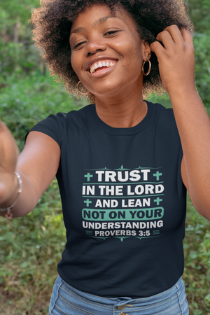 A navy Bible verses on clothes tee with Proverbs 3:5 on it