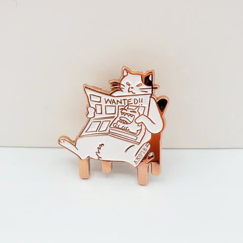 Cat Reading Newspaper Hard Enamel Pin