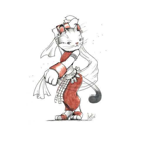 The Original Hand-Drawn Dancer American Curl Cat