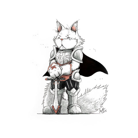The Original Hand-drawn Turkish Angora Paladin Cat