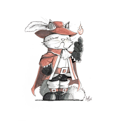 The Original Hand-drawn White Persian Red Mage Cat
