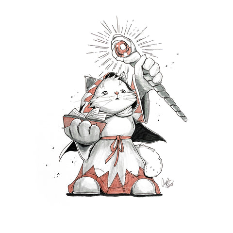 The Original Hand-drawn White Mage Munchkin Cat