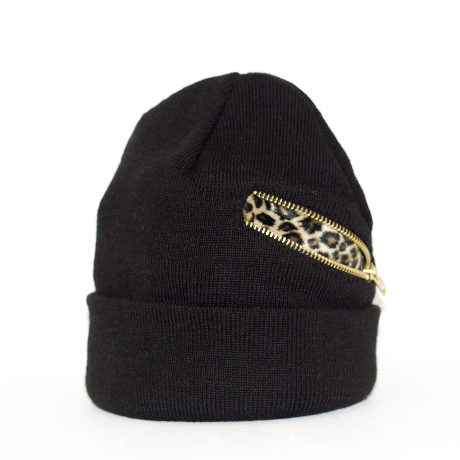Zipper Beanie with lepard pattern
