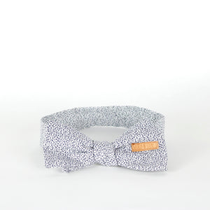 Bow tie and hanky, white and navy flowers