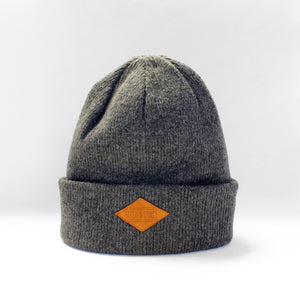 Lambswool Beanie with leather patch
