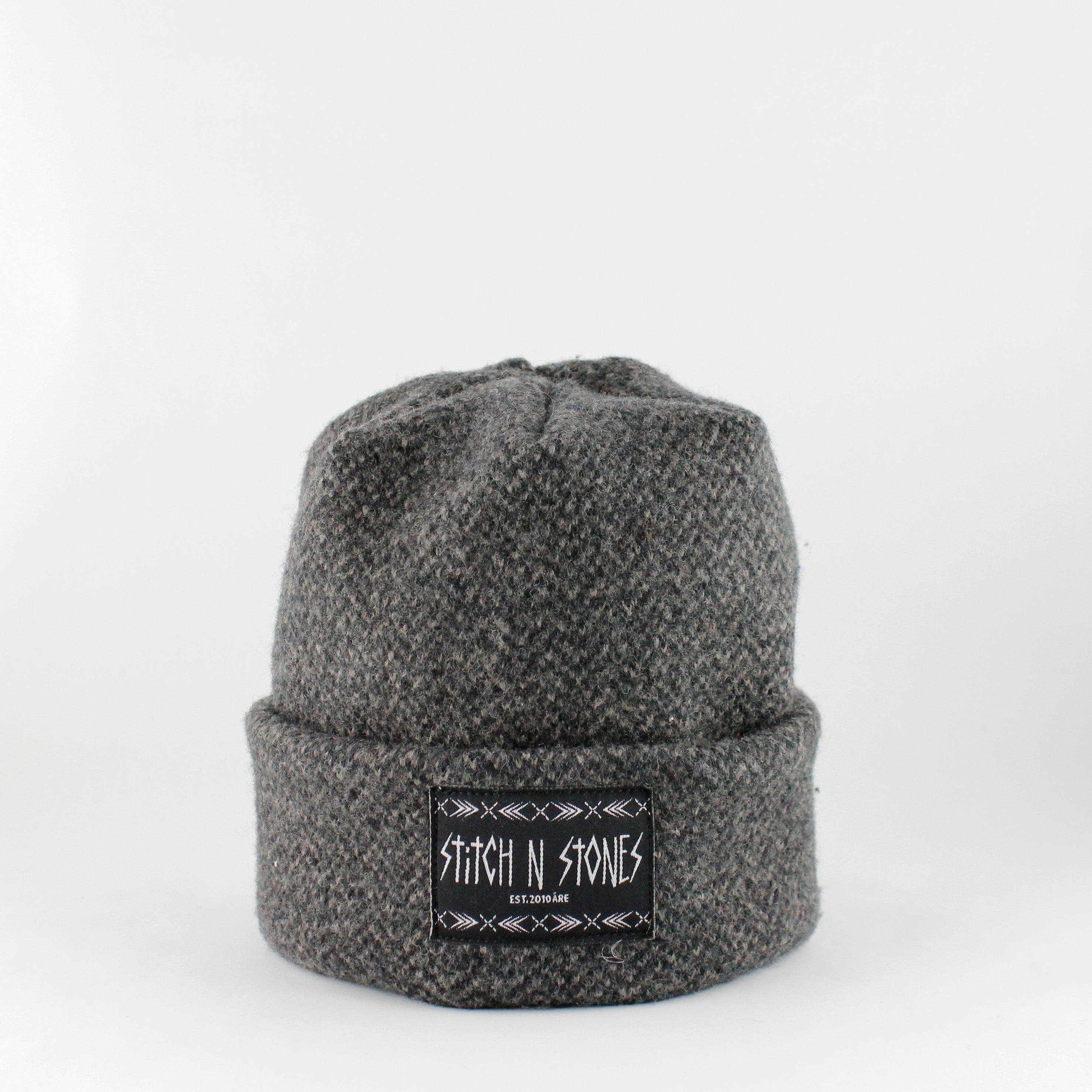 Upcycled Herringbone Kids Beanie