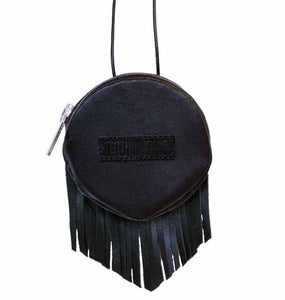 Snuffbox case fringes black leather