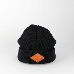 Upcycled Toddler Beanie with leather logo