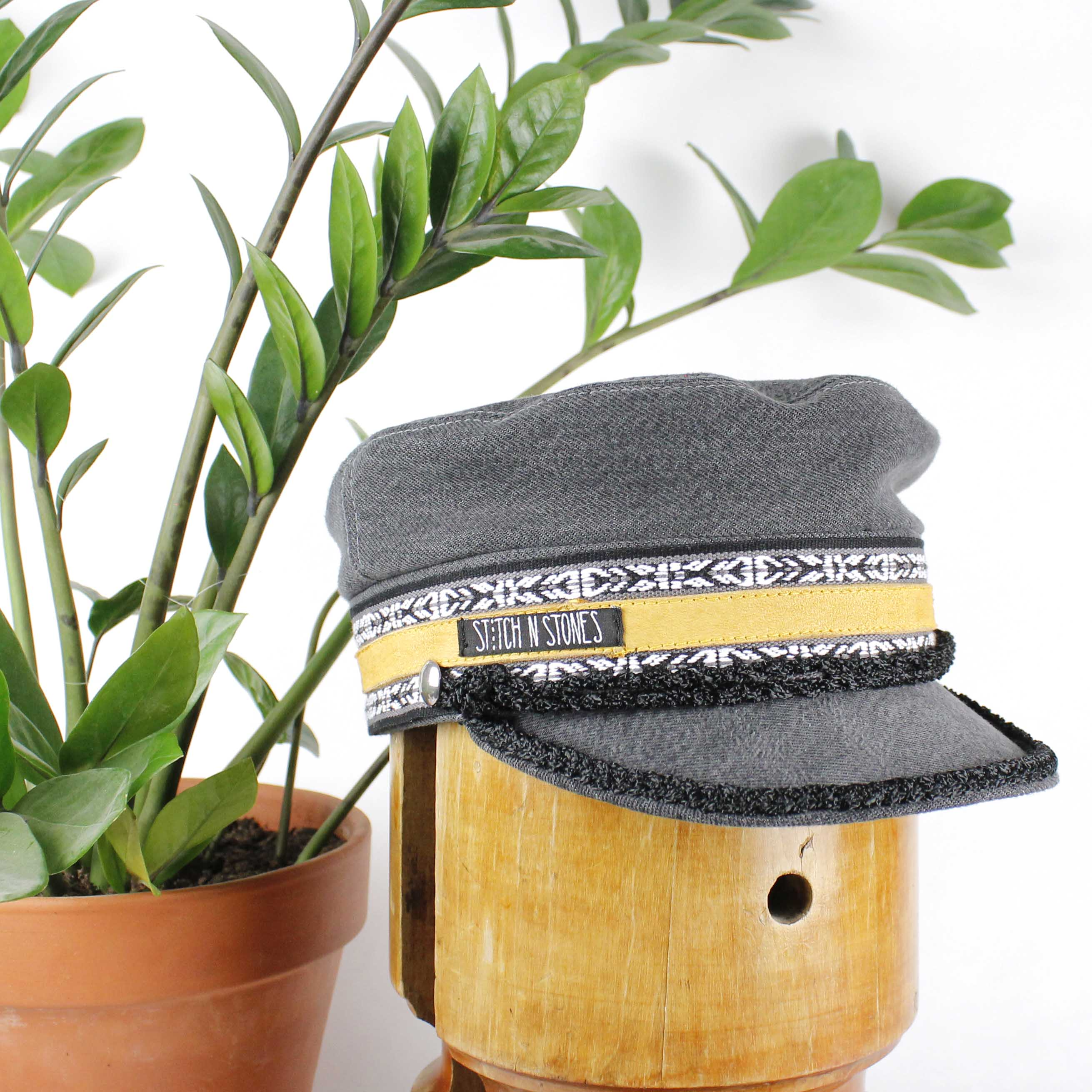 Vega Cap Grey Denim Yellow Leather