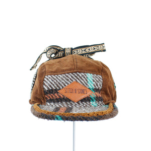Kids Winter Cap corduroy and chequered plaid