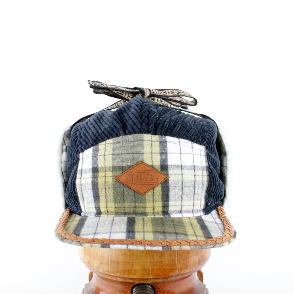 Grey Corduroy and checkered flannel Wintercap