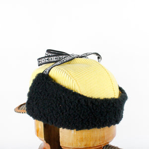 Yellow Corduroy and checkered wool Wintercap