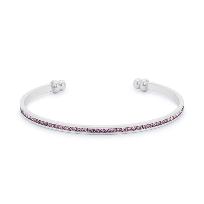 Channel-Set Lavender Cubic Zirconia Cuff