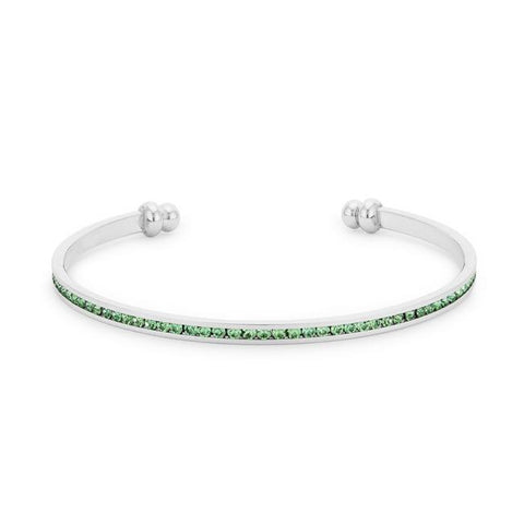 Channel-Set Peridot Green Cubic Zirconia Cuff