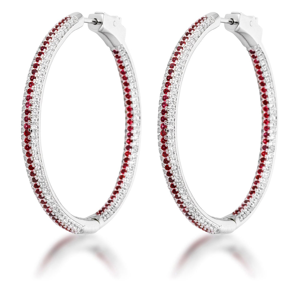 Red Micro Pave CZ Hoops