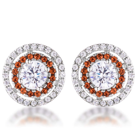 Orange CZ Double Halo Studs