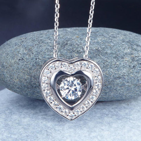 Heart Dancing Stone Pendant Necklace in Sterling Silver