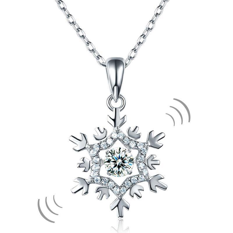 Snowflake Dancing Stone Pendant Necklace in Sterling Silver
