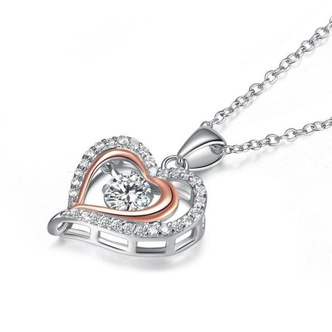 Double Heart Dancing Stone Pendant Necklace in Sterling Silver