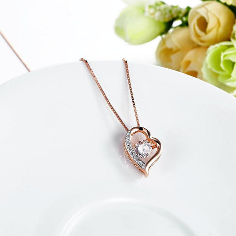 Heart Dancing Stone Pendant Necklace in Sterling Silver Rose Gold Plated